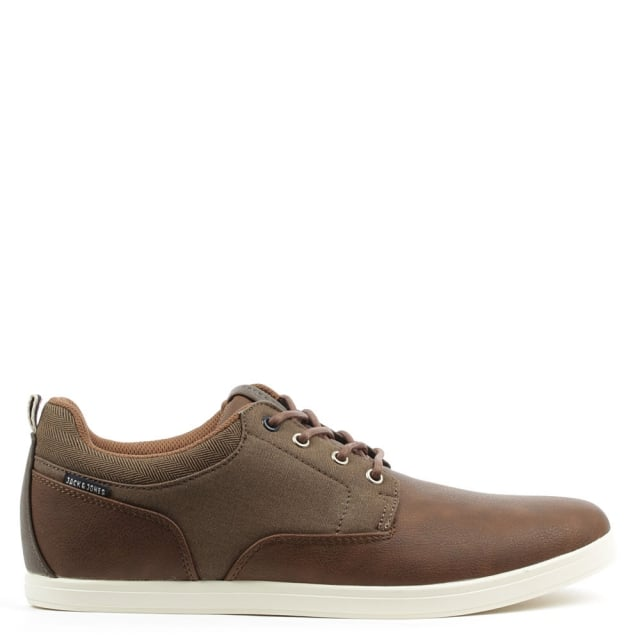 Vaspa Tan Leather Contrast Lace Up Trainer