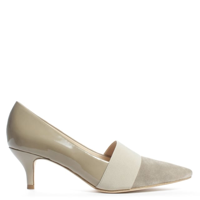 Vedell Beige Patent Leather Kitten Heel Court Shoe