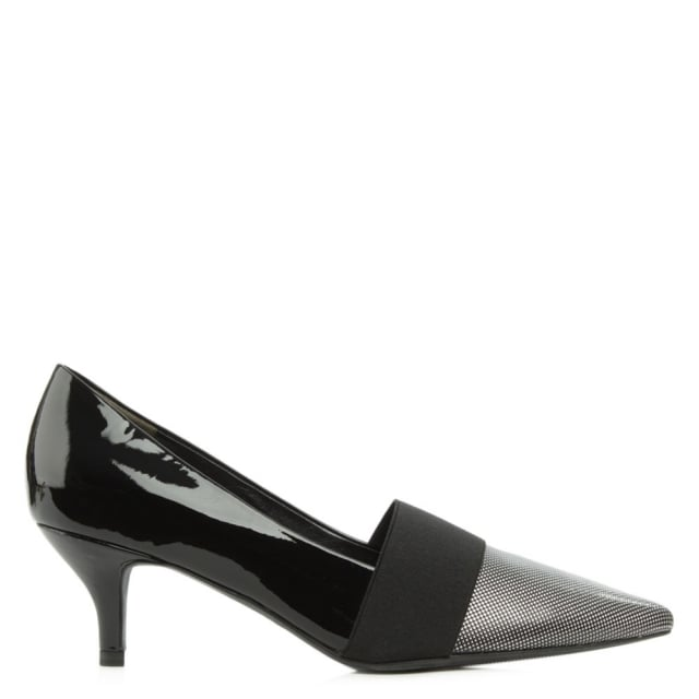 Vedell Black Patent Leather Kitten Heel Court Shoe