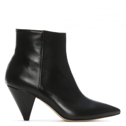 Veep Black Leather Cone Heel Ankle Boots
