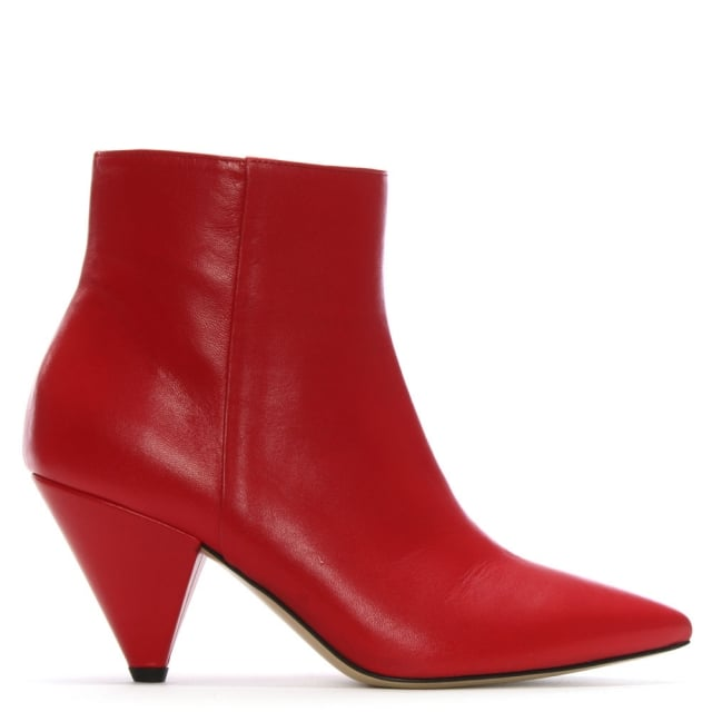 Veep Red Leather Cone Heel Ankle Boots
