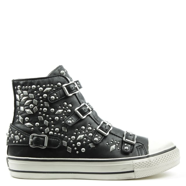 Vegas Black Leather Studded High Top Trainer