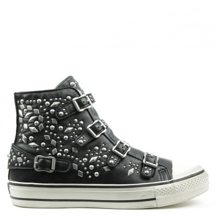 Ash Vegas Black Leather Studded High Top Trainer