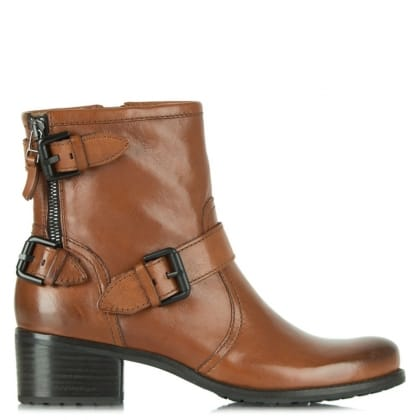 Vendome Tan Leather Buckle Ankle Boot