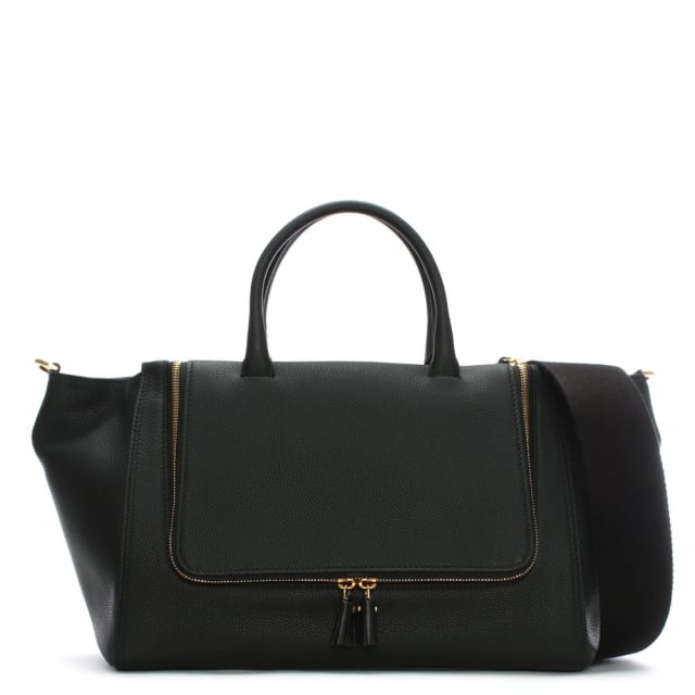 Anya Hindmarch Vere Black Leather Tote Bag