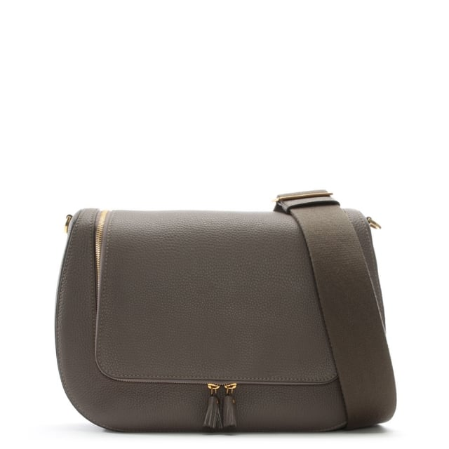 Vere Maxi Taupe Leather Satchel Bag