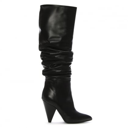 Verena Black Leather Cone Heel Rouched Knee Boots