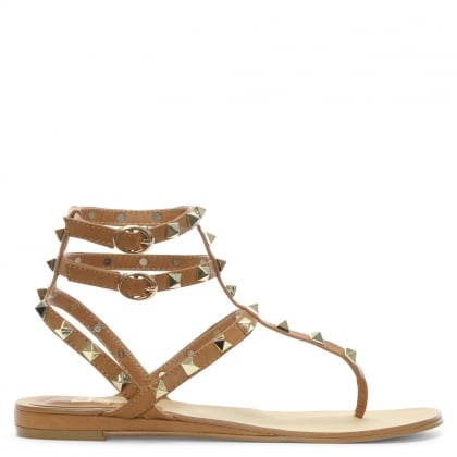 Verity Tan Square Studded Gladiator Sandals