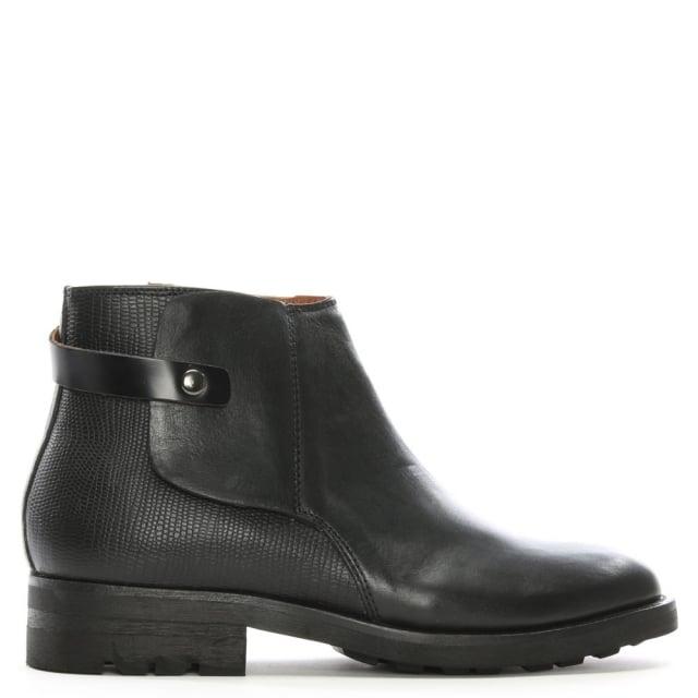 Hudson Vernon Black Leather Ankle Boots