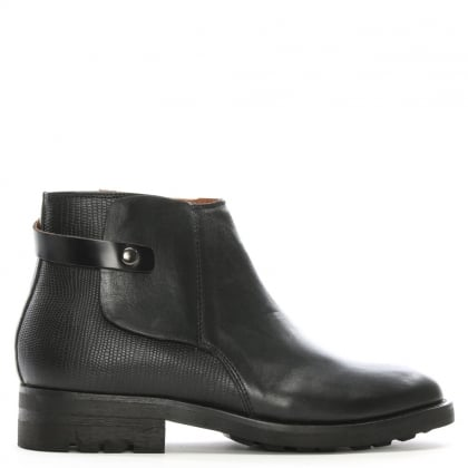 Vernon Black Leather Ankle Boots