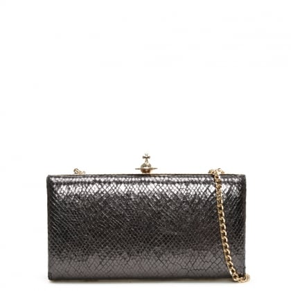 Verona Black Reptile Leather Box Clutch Bag