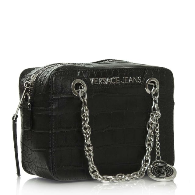 fbb26ed0c59f Versace Jeans Kate Black Moc Croc Box Cross-Body Bag