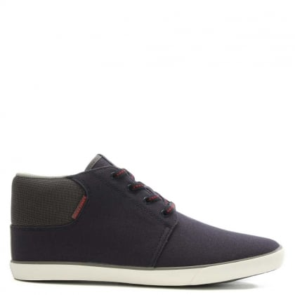 Vertigo Navy Fabric High Top Trainer