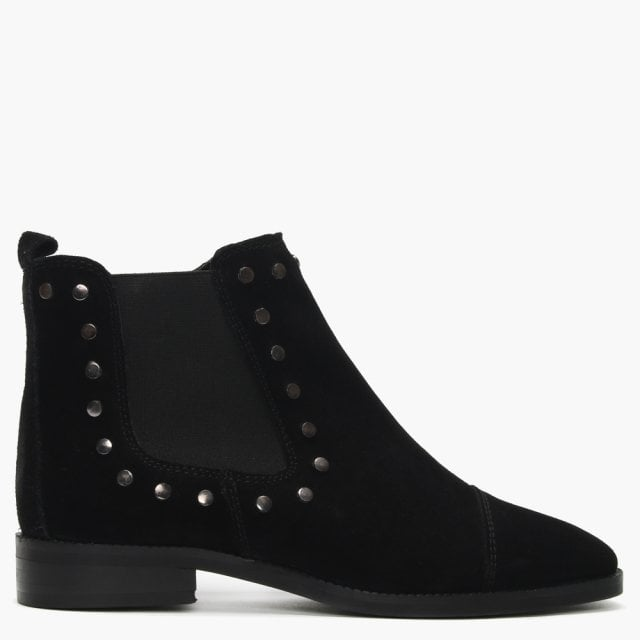 Black Suede Studded Chelsea Boots