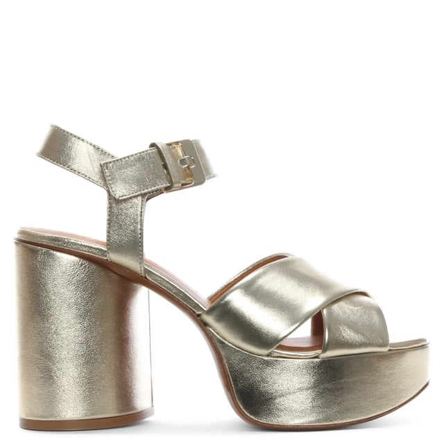Robert Clergerie Vianne Gold Metallic Chunky Platform Sandals