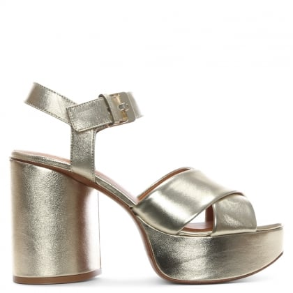 Vianne Gold Metallic Chunky Platform Sandals