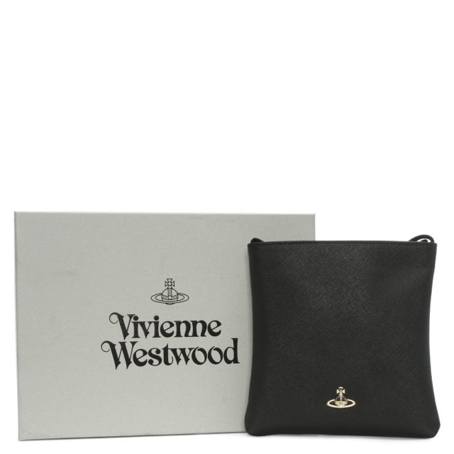 5295b93e597 Vivienne Westwood Victoria Square Black Textured Leather Cross-Body Bag