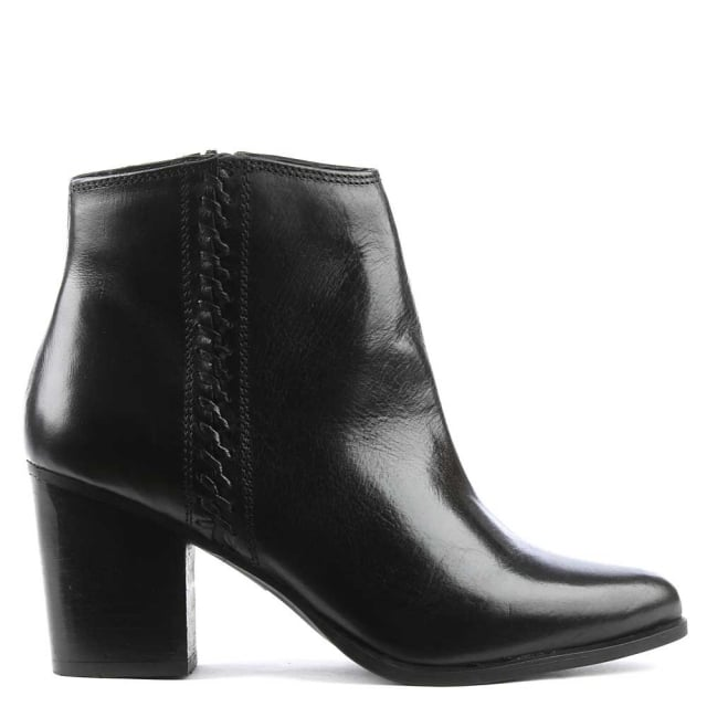 Victorina Black Leather Pointed Toe Ankle Boot