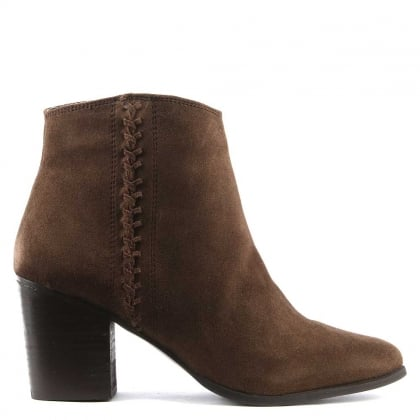 Victorina Brown Suede Pointed Toe Ankle Boot