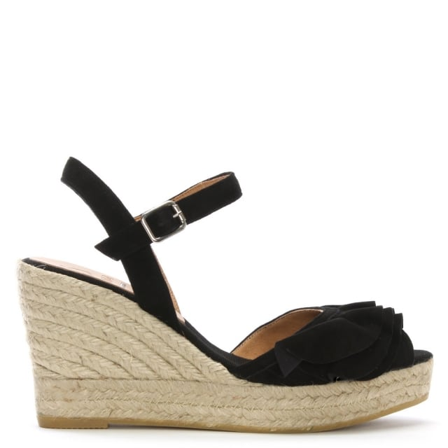 Viena Black Leather Ruffle Trim Wedge Espadrilles