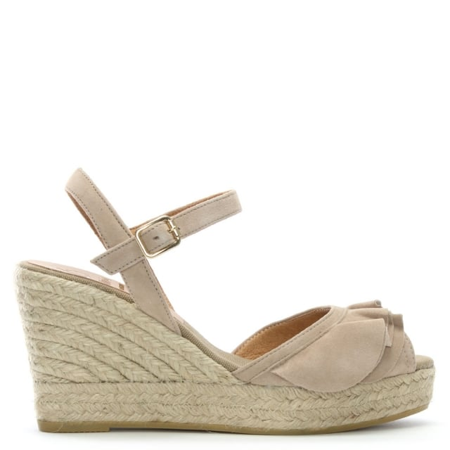 Viena Taupe Leather Ruffle Trim Wedge Espadrilles