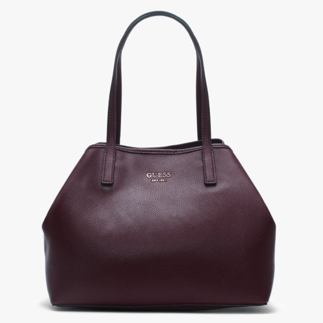 fc54a074f223 GUESS Vikky Burgundy Pebbled Tote Bag