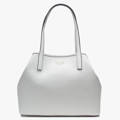 1c95e1dc73 GUESS Vikky White Pebbled Tote Bag
