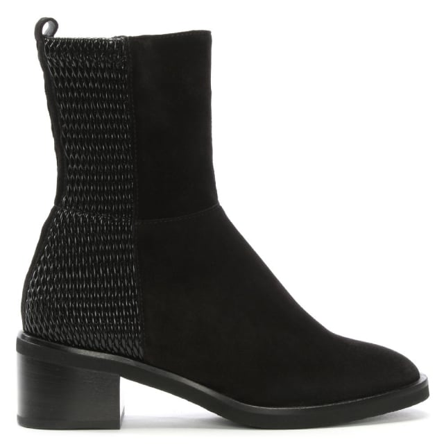 Vine Black Suede Elasticated Panelled Ankle Boots