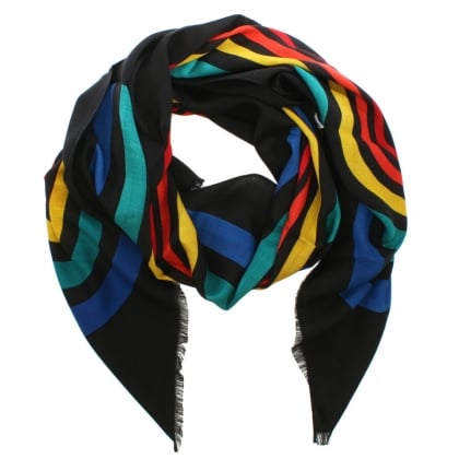 Vintage Multicoloured Striped Logo Stole