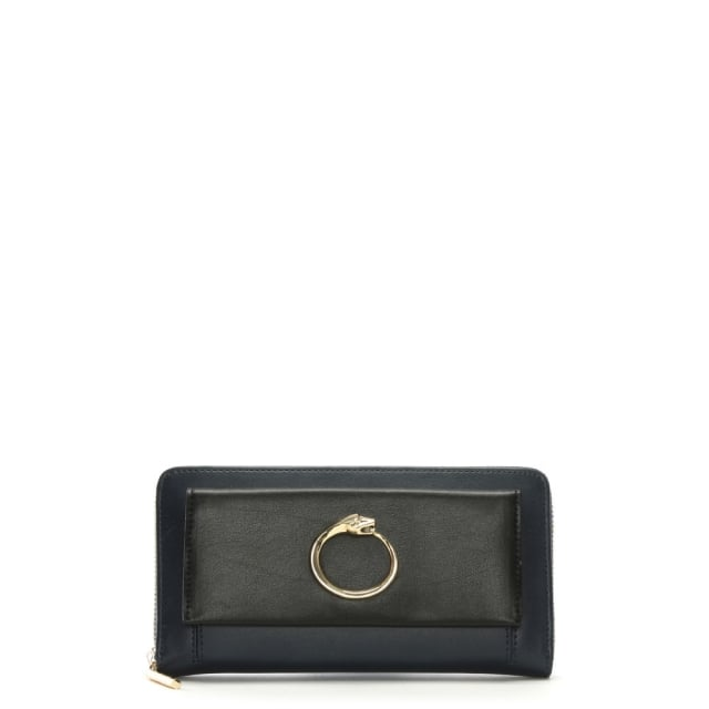 Viper Navy & Black Leather Panther Zip Around Wallet