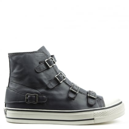 ea8b8dd28e8b Virgin Bis Graphite Leather Buckled High Top Trainers