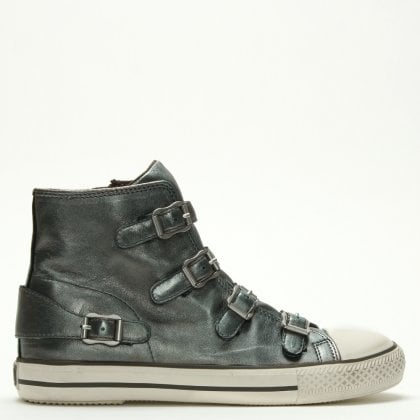 92d0f80df3e9 Virgin Bis Moon Stone Leather Buckled High Top Trainers
