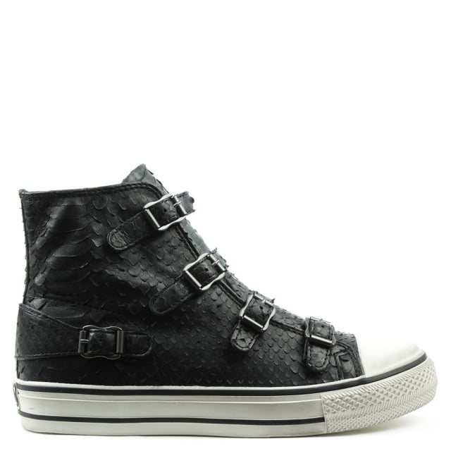 Virgin Black Reptile Leather High Top Trainer
