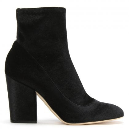 Virginia 90 Black Velvet Ankle Boots