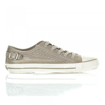 Virgon Taupe Leather Lace Up Trainer