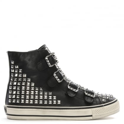 Virtu Black Leather Studded High Top Trainers