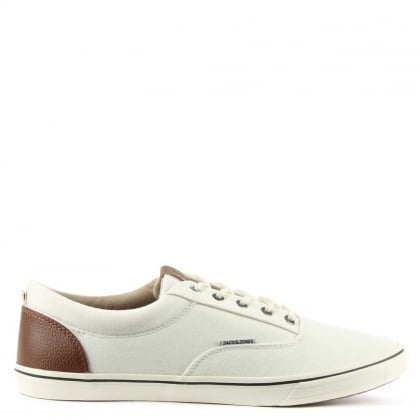 Vision Mix White Canvas Lace Up Trainer