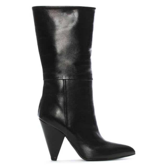 Vissia Black Leather Cone Heel Calf Boots