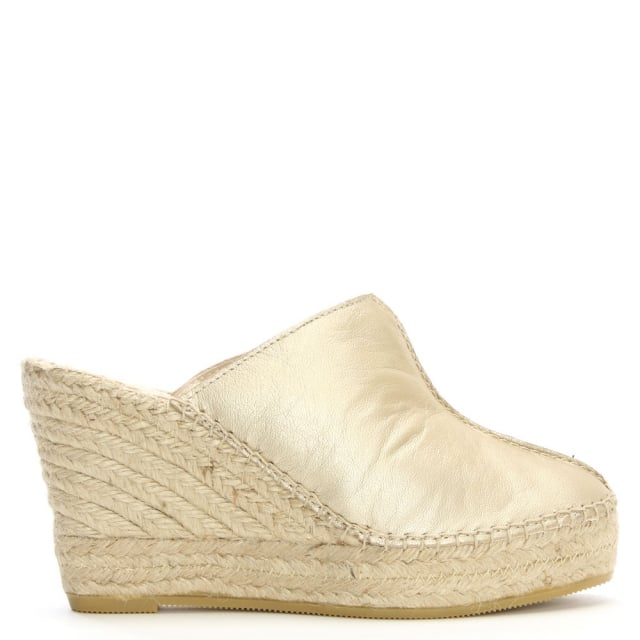 Vitex Gold Leather Closed Toe Wedge Mules