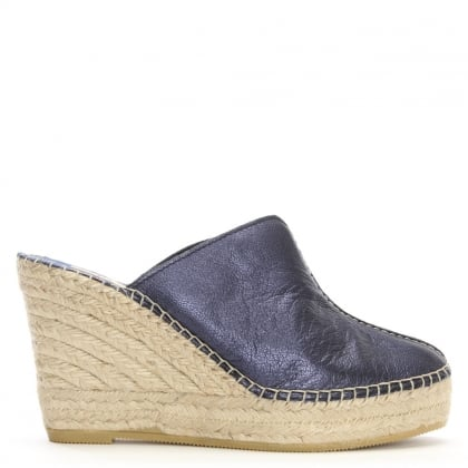 Vitex Navy Metallic Leather Closed Toe Wedge Mules