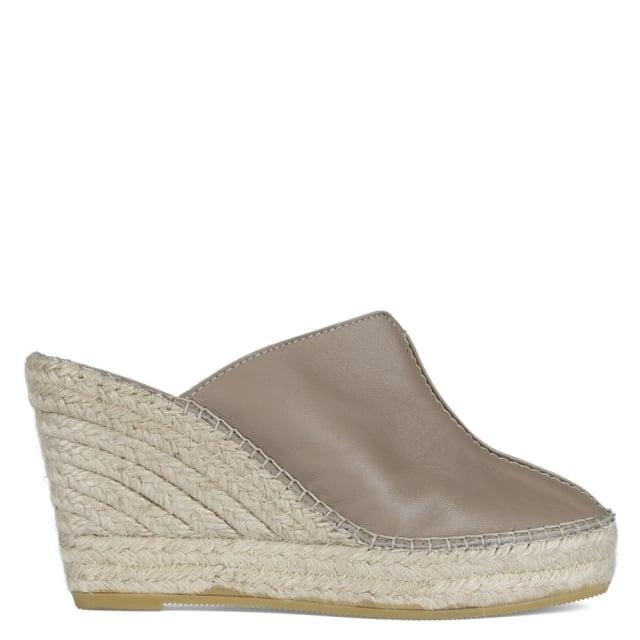 Vidorreta Vitex Taupe Leather Closed Toe Wedge Mules
