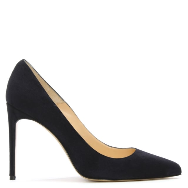 Vittie Navy Suede Court Shoe