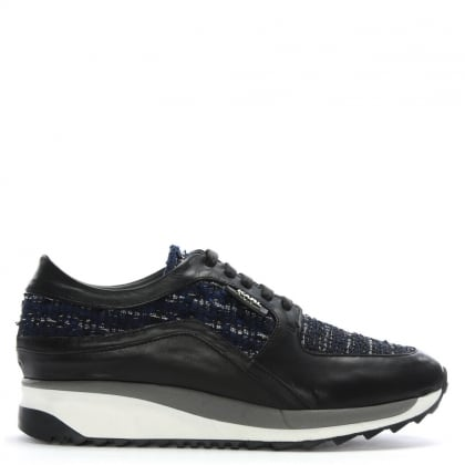 Vivace Runner Black Leather & Fabric Trainers