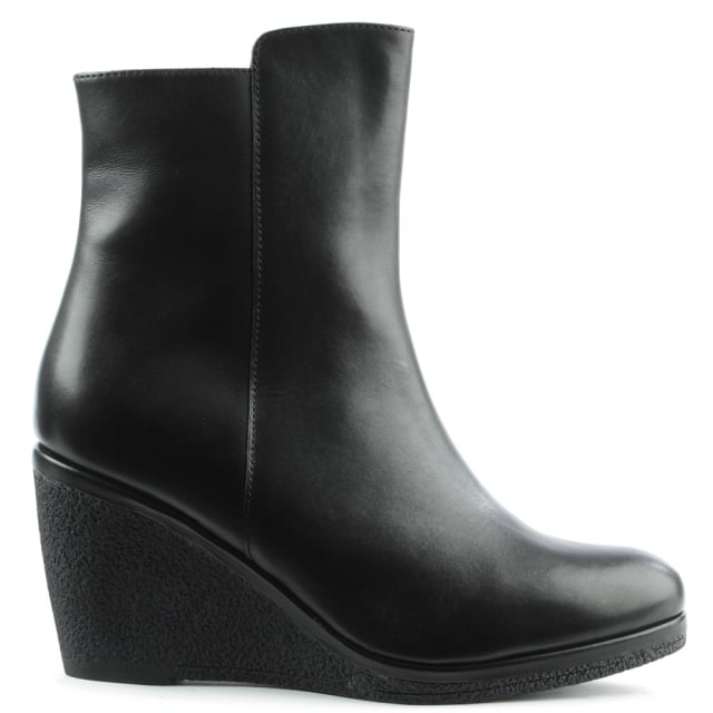 Viviana Black Leather High Wedge Ankle Boot