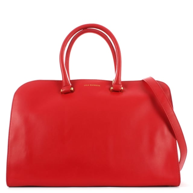 Vivienne Medium Smooth Red Leather Tote Bag
