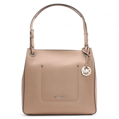 Walsh Medium Fawn Saffiano Leather Shoulder Tote Bag