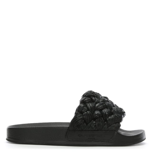 Robert Clergerie Walter Black Raffia Plaited Sliders