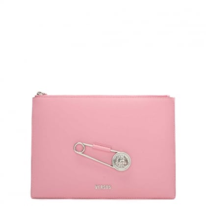 Wati Pink Leather Safety Pin Clutch