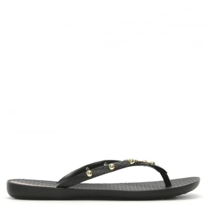 Wave Hits Black Studded Flip Flops
