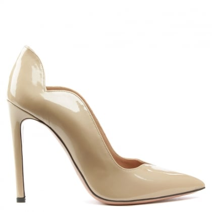 Wave Nude Patent Leather Court Shoes